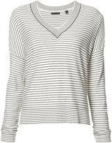 ATM Anthony Thomas Melillo striped V-neck jumper - women - Silk/Cashmere/Wool - M