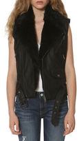Vigoss Faux Fur Trimmed Moto Vest