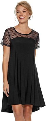 Women's Nina Leonard Sheer Dot Mesh Swing Dress