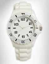 555 Turnpike Round White Watch with Rubber Strap Casual Male XL