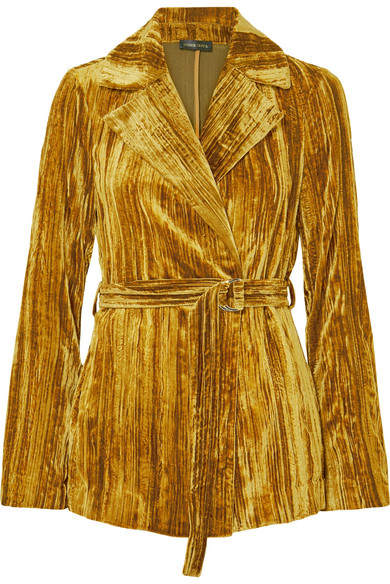 Stine Goya Lora Belted Crushed-velvet Blazer - Gold
