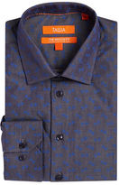 Tallia Orange Floral Chambray Dress Shirt
