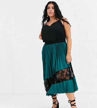 Outrageous Fortune Plus lace insert pleated midi skirt in green