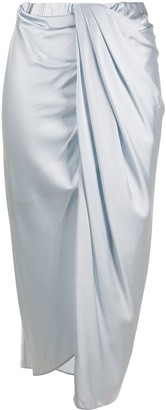 Helmut Lang Draped Satin Midi Skirt