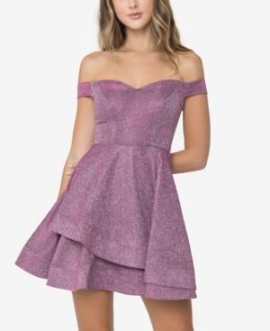 B. Darlin Juniors' Sherry Shine Off-The-Shoulder A-Line Dress