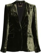 Frame crushed velvet single-breasted blazer