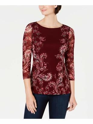 Charter Club Womens Burgundy Paisley 3/4 Sleeve Jewel Neck Wear to Work Top Petites UK Size:8