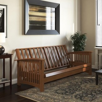 DHP Cameron All Wood Futon Frame, Convertible Sofa Bed, Multiple Colors