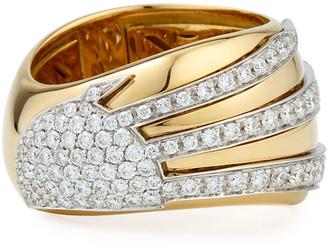 Miseno 18k Gold Sun Ray Ring with Diamonds, Size 6.5