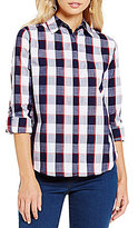 Allison Daley Roll-Tab Sleeve Button-Front Plaid Shirt