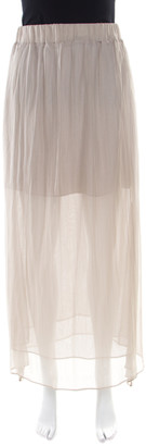 Brunello Cucinelli Grey Gathered Silk Semi Sheer Maxi Skirt S