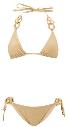 My Beachy Side - Haluc Beaded Crochet-strap Lame Triangle Bikini - Gold