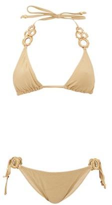 My Beachy Side - Haluc Beaded Crochet-strap Lame Triangle Bikini - Womens - Gold