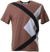 MSGM Patchwork Beige Cotton T-shirt