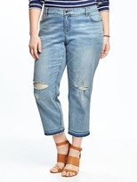 Old Navy Boyfriend Plus-Size Raw-Edge Jeans