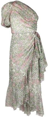Giambattista Valli One-Shoulder Floral-Print Silk Dress