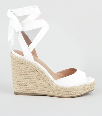 New Look Leather-Look Ankle Tie Espadrille Wedges