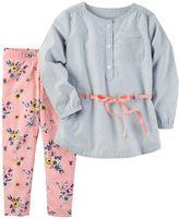 Carter's Girls 4-8 Striped Tunic & Floral Leggings Set