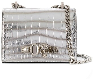 Alexander McQueen Jewelled crocodile-effect crossbody bag