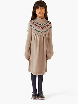 Jigsaw Girls' Fair Isle Jumper Dress, Oatmeal