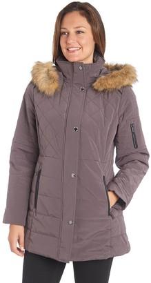 Fleet Street Women's Faux-Fur Hooded Quilted Jacket