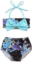 honeys Infant Baby Girls Swimsuit Floral Blue Bowknot Bikini Set Strap Top+Shorts (1-2y, )