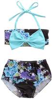 honeys Infant Baby Girls Swimsuit Floral Blue Bowknot Bikini Set Strap Top+Shorts (3-4y, )