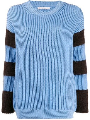 Chinti and Parker Striped Ribbed-Knit Jumper
