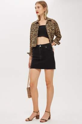 Topshop Womens Denim Washed Black Mini Skirt - Washed Black