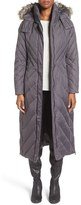 Larry Levine Women's Down & Feather Fill Maxi Coat With Faux Fur Trim Hood