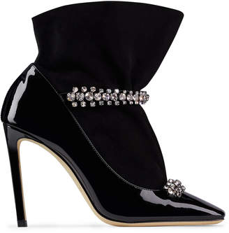 Jimmy Choo MARUXA 100 Black Patent and Suede Bootie with a Smoke Jewel Strap