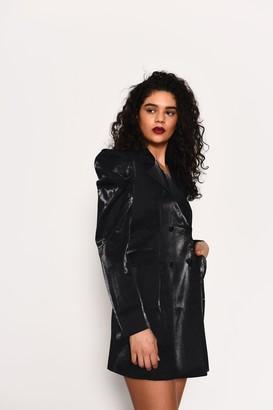 Glamorous Womens **Black Metallic Blazer Dress By Black