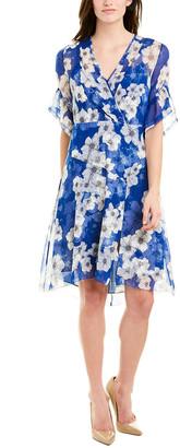 Elie Tahari Silk Faux Wrap Dress