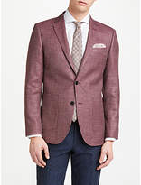 John Lewis Wool Silk Linen Basketweave Tailored Blazer, Mulberry