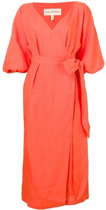 Mara Hoffman Puff Sleeves Wrap Dress