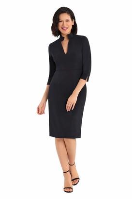 Donna Morgan Women's 3/4 Sleeve Stretch Crepe Collarstand V-Cutout Sheath Dress