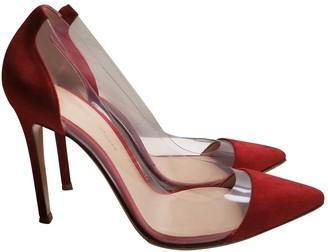Gianvito Rossi Plexi Red Suede Heels