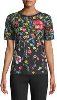 Escada Short-Sleeve Floral-Print Cotton Tee