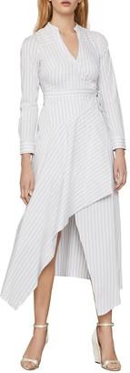 BCBGMAXAZRIA Striped Cotton-Blend Wrap Dress