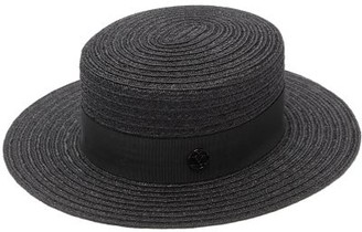 Maison Michel Kiki Hemp-straw Boater Hat - Black