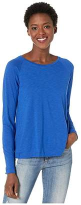 Lilla P Long Sleeve Pleat Back Tee (Cobalt) Women's Clothing