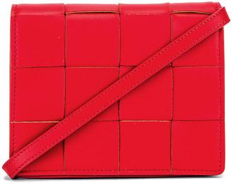 Bottega Veneta Woven Leather Crossbody Bag in Bright Red | FWRD