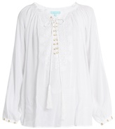 Melissa Odabash Alessandra lace-up embroidered top