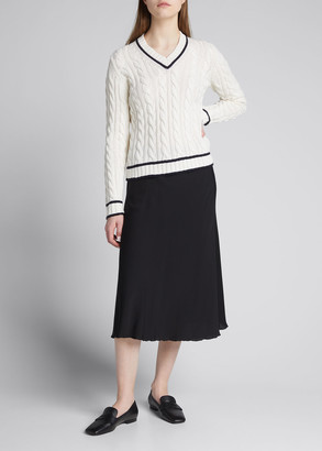 Max Mara Belgica Cotton-Blend Cable-Knit Contrast-Trim Sweater