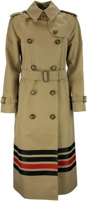 Burberry Waterloo - Stripe Detail Cotton Gabardine Trench Coat