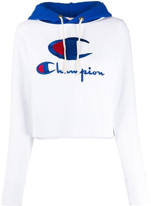 Champion embroidered logo cropped hoodie