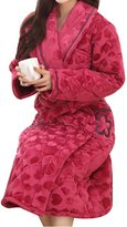 WS@WX103 Woen's Coral Fleece Robe Long Bathrobe,