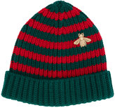 Gucci striped beanie with embroidery - men - Wool - S