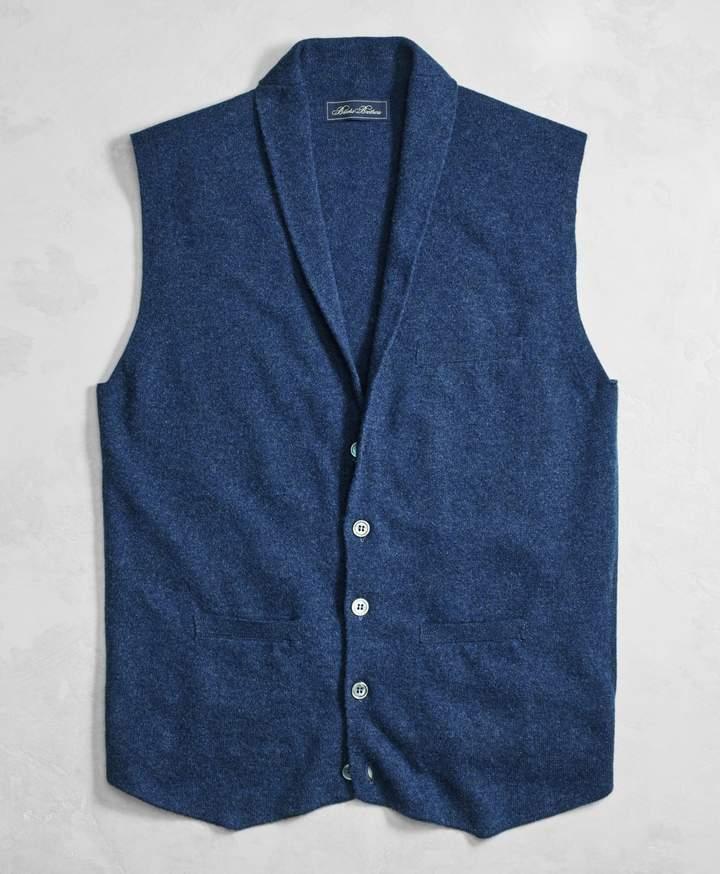 Brooks Brothers Golden Fleece 3-D Knit Cashmere Shawl Collar Sweater Vest