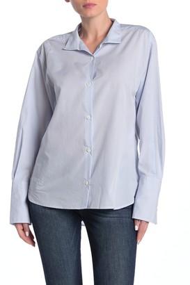 Frame Clean Collared Stripe Print Shirt